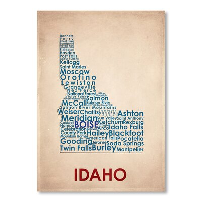 Americanflat Idaho Typography Wrapped on Canvas