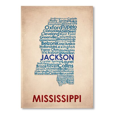 Americanflat Mississippi Typography Wrapped on Canvas