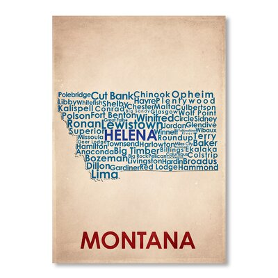 Americanflat Montana Typography Wrapped on Canvas