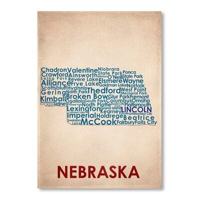 Americanflat Nebraska Typography on Canvas