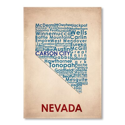 Americanflat Nevada Typography Wrapped on Canvas