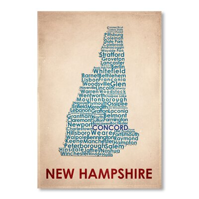 Americanflat New Hampshire Typography Wrapped on Canvas