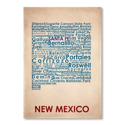 Americanflat New Mexico Typography Wrapped on Canvas