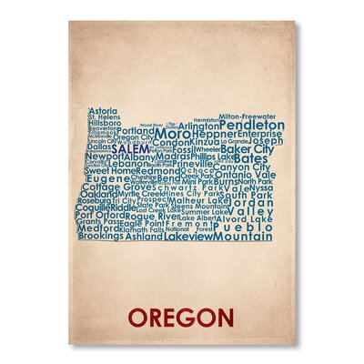 Americanflat Oregon Typography Wrapped on Canvas