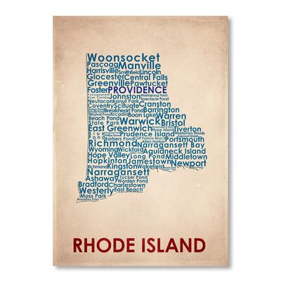 Americanflat Rhode Island Typography Wrapped on Canvas