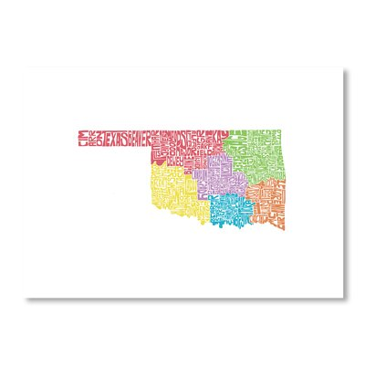 Americanflat Oklahoma Regions by Crystal Capritta Typography Wrapped on Canvas