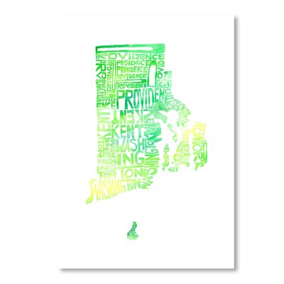 Americanflat Rhode Island by Crystal Capritta Typography Wrapped on Canvas