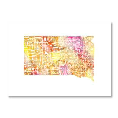 Americanflat South Dakota Water by Crystal Capritta Typography Wrapped on Canvas