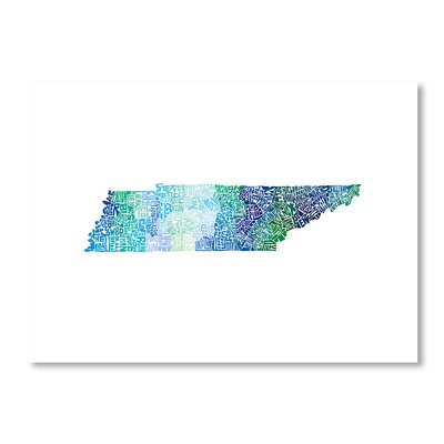 Americanflat Tennessee by Crystal Capritta Typography Wrapped on Canvas