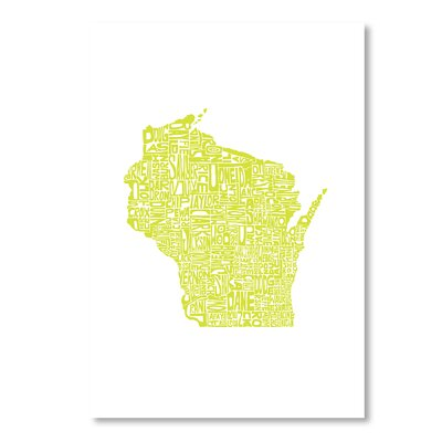 Americanflat Wisconsin by Crystal Capritta Typography Wrapped on Canvas