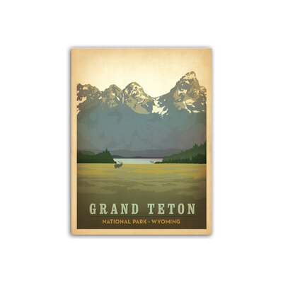 Americanflat Grand Teton National Park Vintage Advertisement Wrapped on Canvas