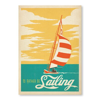 Americanflat I'd Rather Be Sailing Vintage Advertisement Wrapped on Canvas