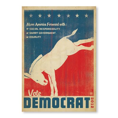Americanflat Vote Democrat by Anderson Design Group Vintage Advertisement Wrapped on Canvas