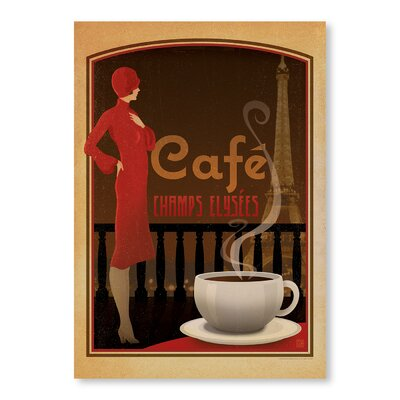 Americanflat Cafe Champs Elysees by Anderson Design Group Vintage Advertisement in Brown