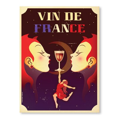 Americanflat Vin De France by Diego Patino Vintage Advertisement Wrapped on Canvas