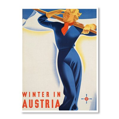 Americanflat Austria Ski Girl by Chad Hyde Vintage Advertisement in Blue