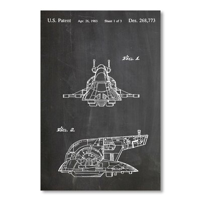 Americanflat Boba Fett's Ship by House of Borders Graphic Art in Grey