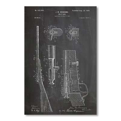 Americanflat Browning Bolt Gun 1899 by House of Borders Graphic Art in Grey