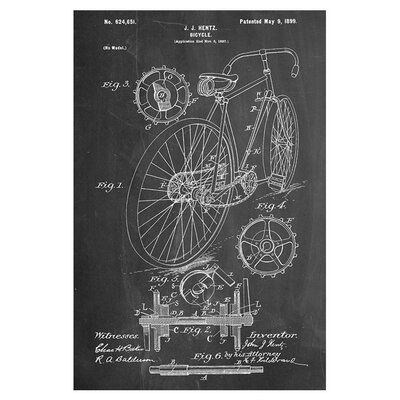 Americanflat Bicycle Hentz 1899 by House of Borders Graphic Art in Grey