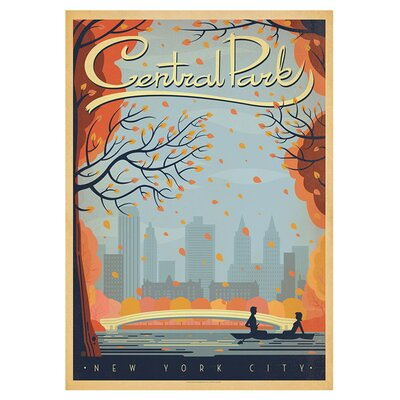 Americanflat New York City Central Park Autumn by Anderson Design Group Vintage Advertisement in Grey