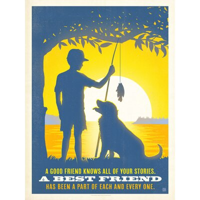Americanflat Boy and Dog Graphic Art Wrapped on Canvas