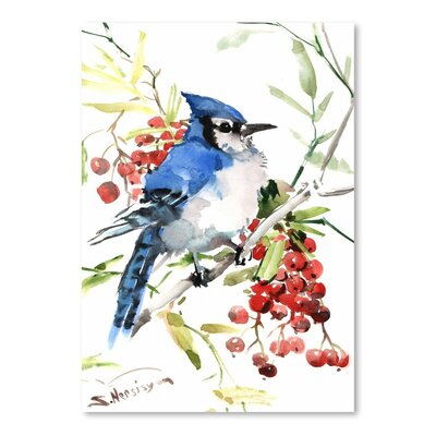 Americanflat Blue Jay and Berries by Suren Nersisyan  Art Print
