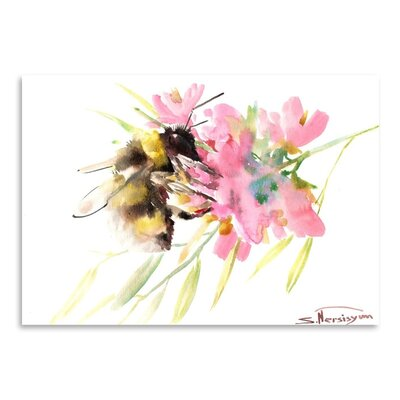 Americanflat Bee and Soft Pink Flowers by Suren Nersisyan Art Print