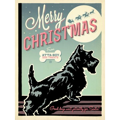 Americanflat Merry Xmas Atta Boy Graphic Art Wrapped on Canvas