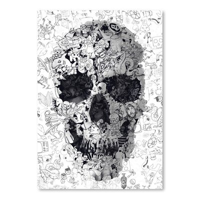 Americanflat Doodle Skull Bw Collage Graphic Art