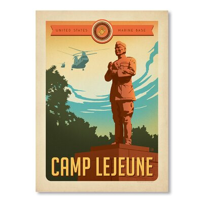 Americanflat Camp Lejune Vintage Advertisement Wrapped on Canvas