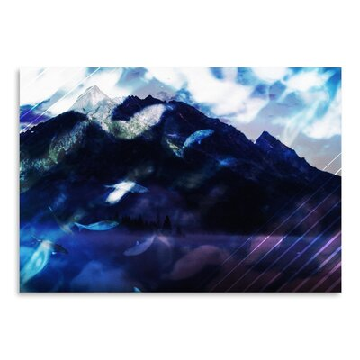 Americanflat Collage Mountainfish Art Print Wrapped on Canvas