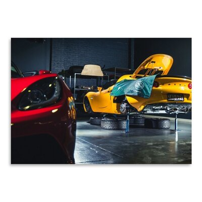Americanflat Yellow Car Photographic Print Wrapped on Canvas