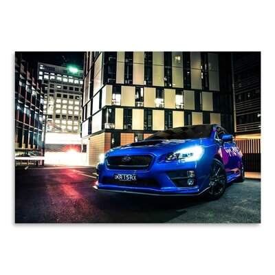 Americanflat Blue Car Photographic Print Wrapped on Canvas