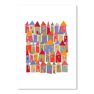 Americanflat Little Houses Collage Graphic Art Wrapped on Canvas
