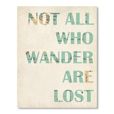 Americanflat Not All Who Wander Are Lost Typography on Canvas