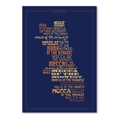Americanflat Chicago Mecca Typographic Wrapped on Canvas
