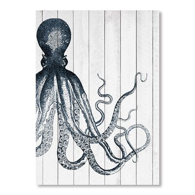 Americanflat Wooden Offset Octopus 2 Graphic Art on Canvas