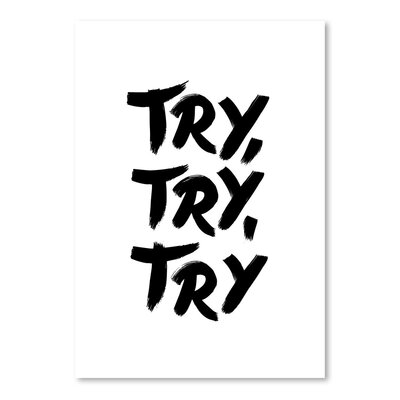 Americanflat Try,Try,Try Typography Wrapped on Canvas