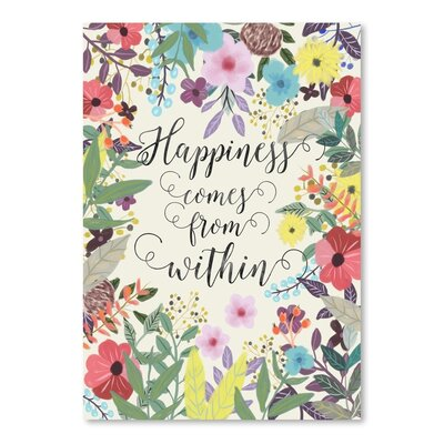 Americanflat Happiness Comes from within Graphic Art Wrapped on Canvas