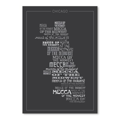 Americanflat Chicago Mecca Typography Wrapped on Canvas