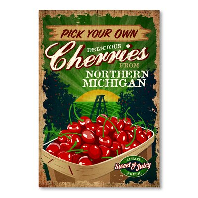 Americanflat Pick Your Own Cherries Vintage Advertisement Wrapped on Canvas