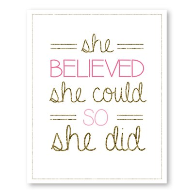 Americanflat Girl's Gold and Glitter Typography on Canvas