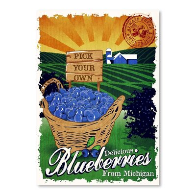 Americanflat Blueberries Vintage Advertisement Wrapped on Canvas
