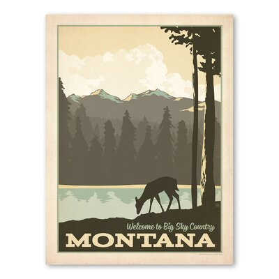 Americanflat Asa Bigsky Montana Vintage Advertisement Wrapped on Canvas