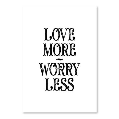 Americanflat Love More Worry Less Typography Wrapped on Canvas