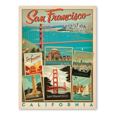 Americanflat San Francisco Multi Vintage Advertisement Wrapped on Canvas