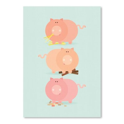 Americanflat Three Pigs Graphic Art Wrapped on Canvas