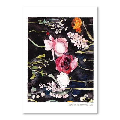 Americanflat Blooms on Black 2 Art Print Wrapped on Canvas