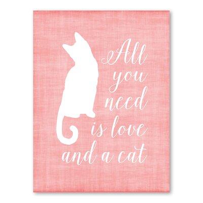 Americanflat Love & A Cat Linen Graphic Art