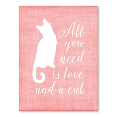 Americanflat Love and A Cat Linen Graphic Art Wrapped on Canvas